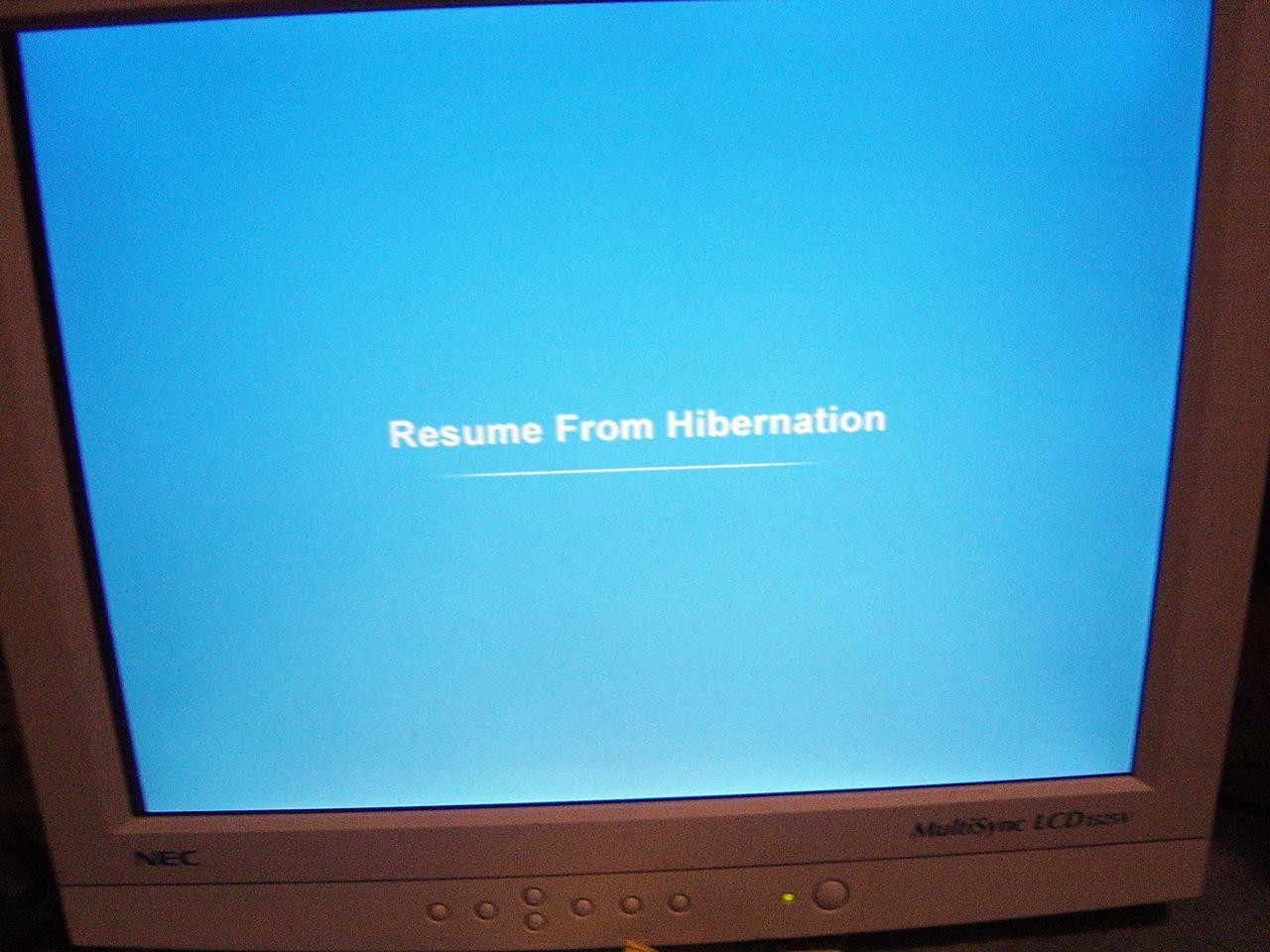 "View topic ""Resume From Hibernation"" screen in XP SP3"