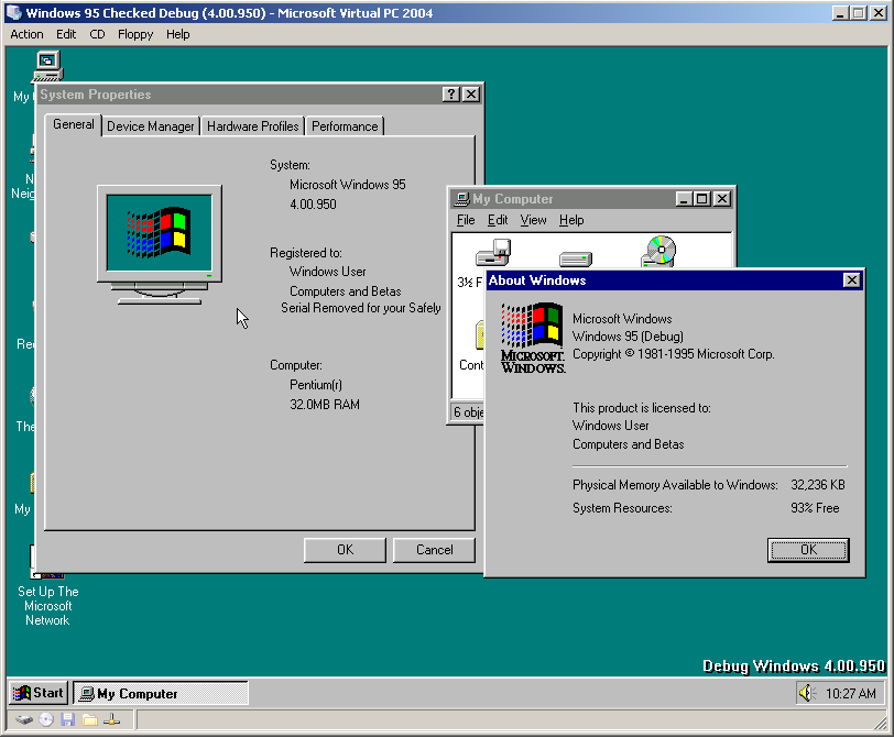 view topic windows 95 checked debug build 950 betaarchive
