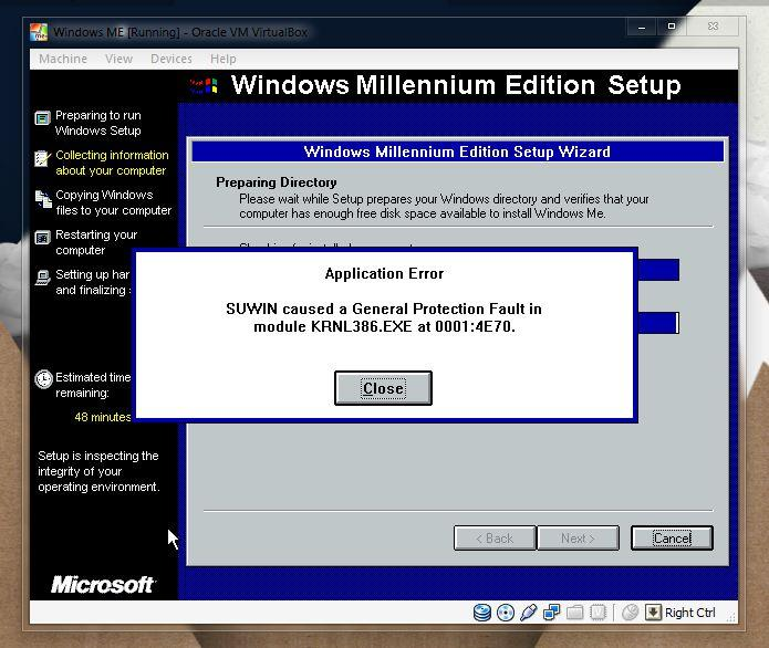View Topic Windows Me Install Error In Virtualbox