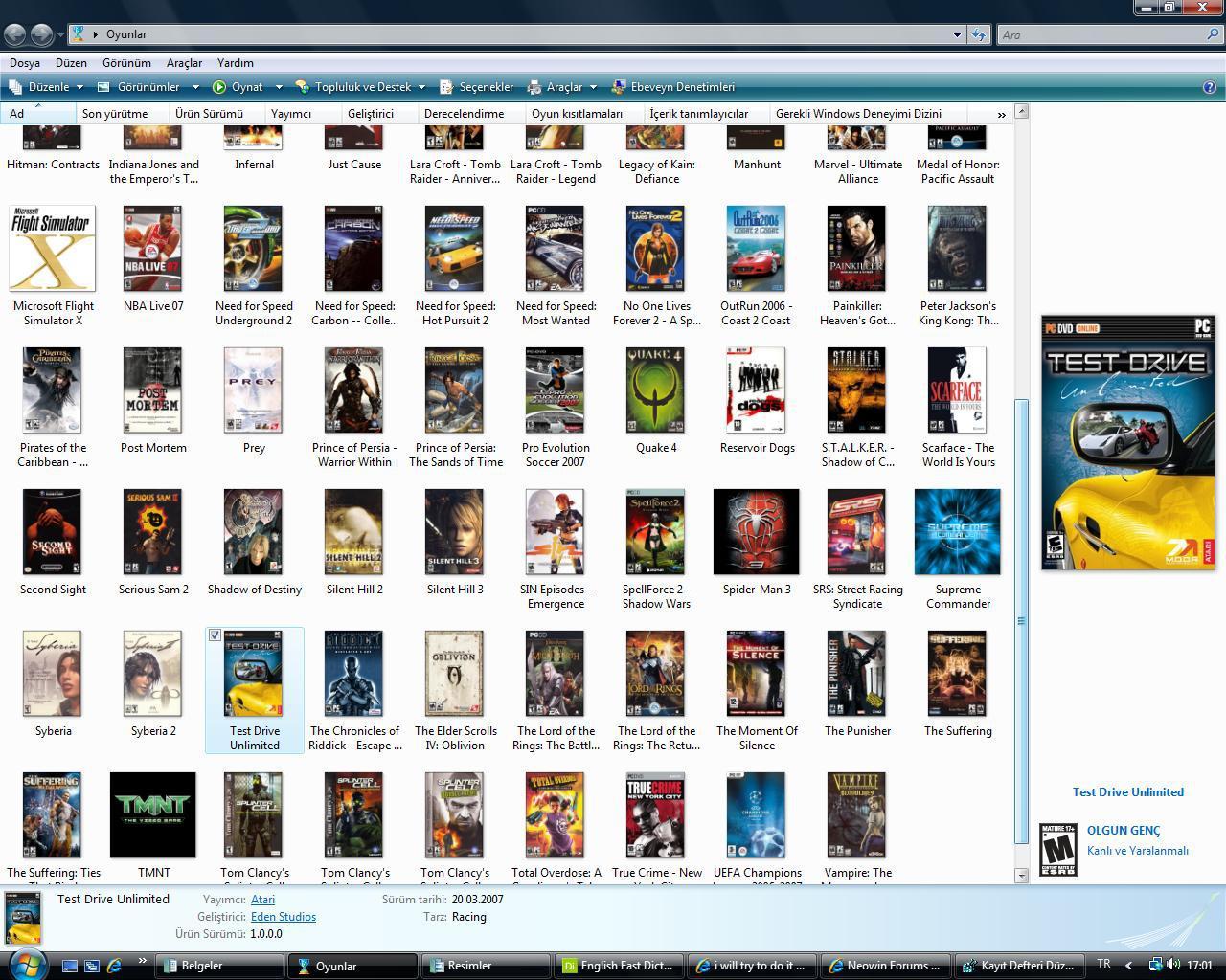 List Of Vista Games