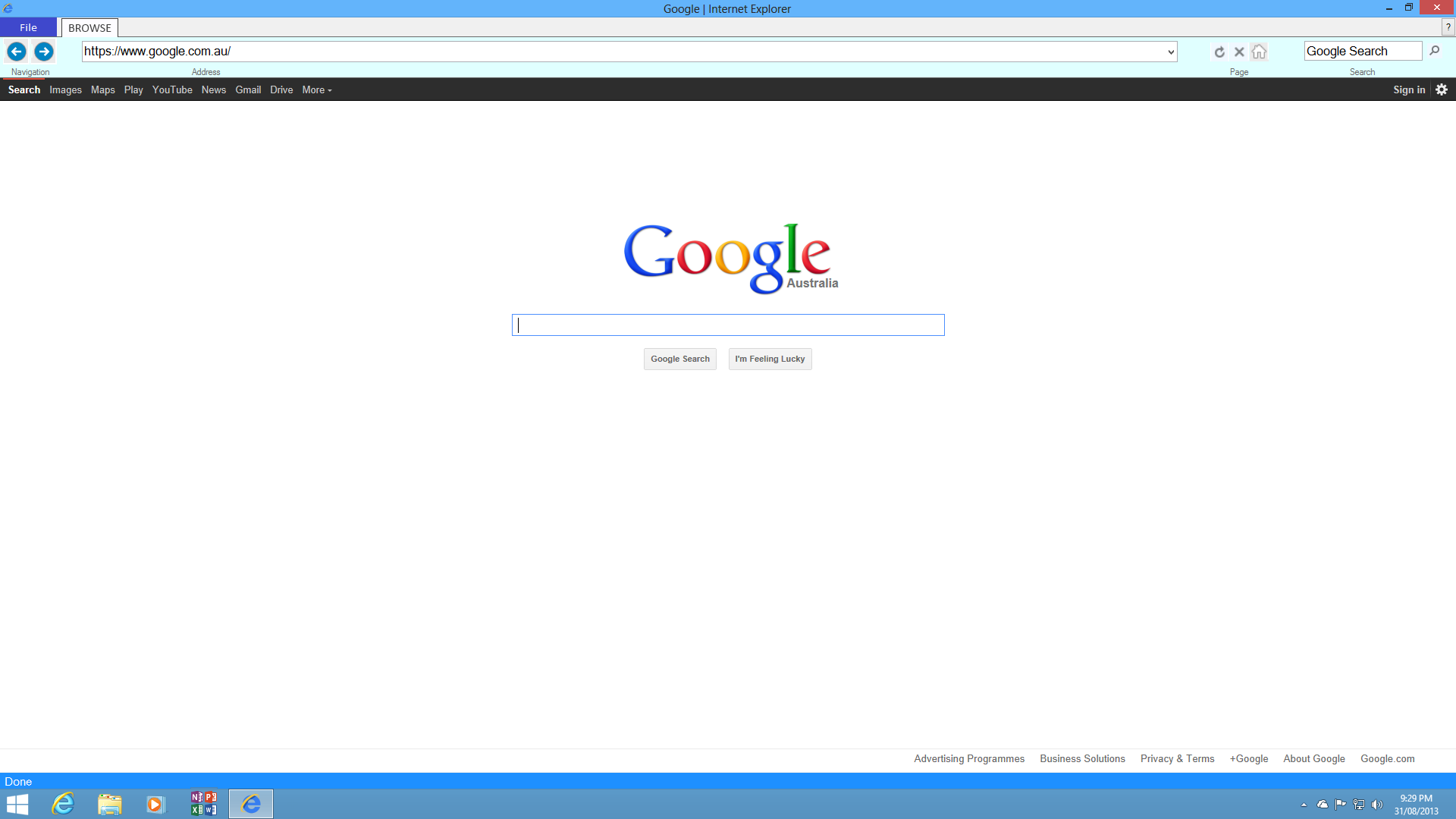 Internet Explorer Through Run Or