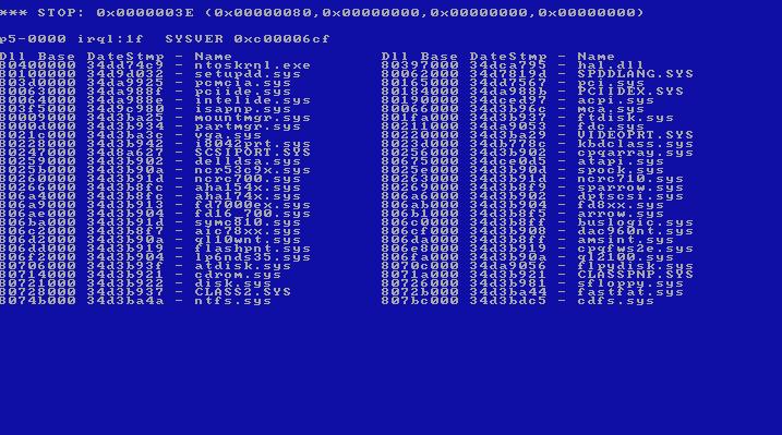 Blue Screen Error Windows Nt