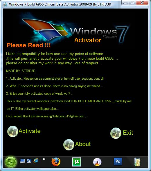 Windows 7 7000, 6956 GENUINE x86 activation by -ZM- keygen