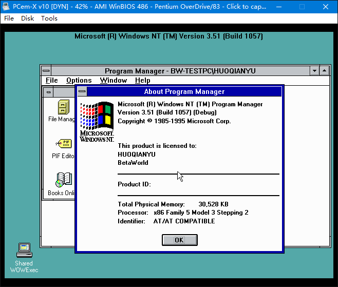 View topic - Successfully installed NT3 51 chk on PCem-X