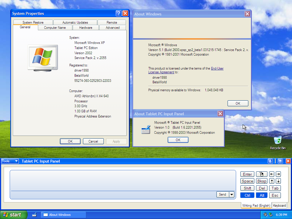 Windows XP Tablet PC Edition 2005 Last ned iso