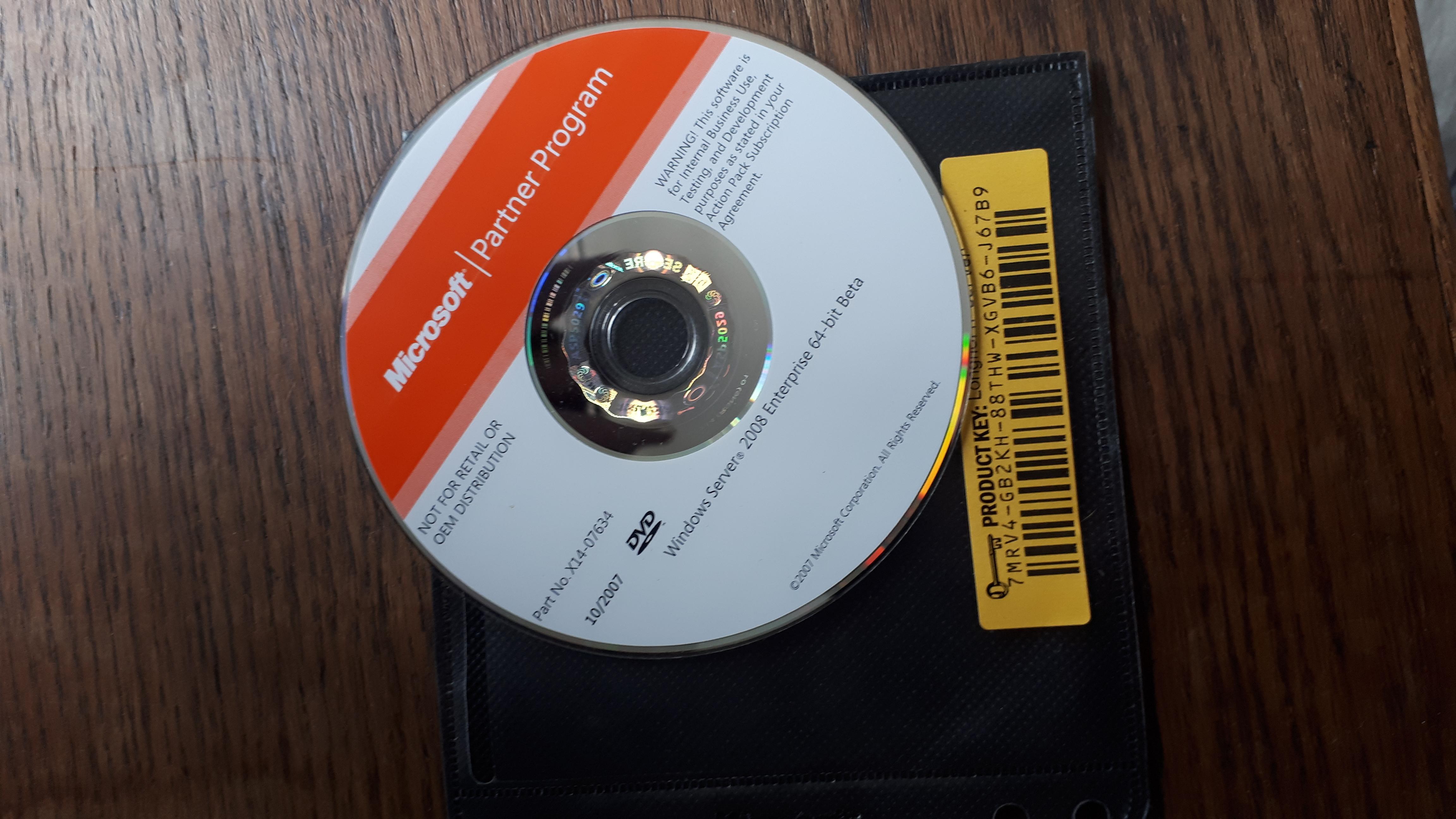Windows Server 2008 Enterprise Beta Cd  Original